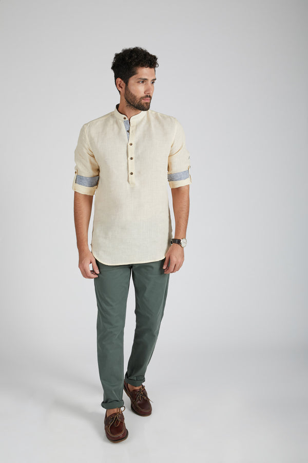 Earthen Mandarin Casual Shirt - Light Beige (Only 46 left)