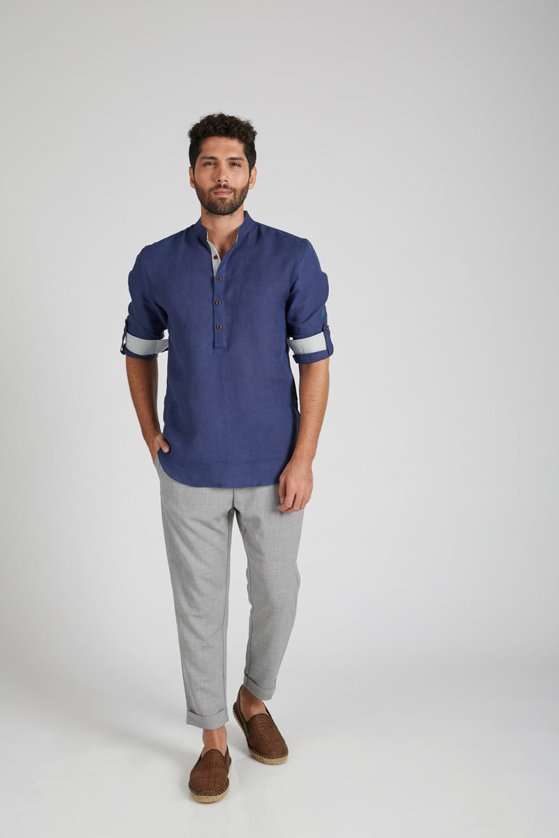 Earthen Mandarin Casual Shirt - Navy (Only Size 42 Left)