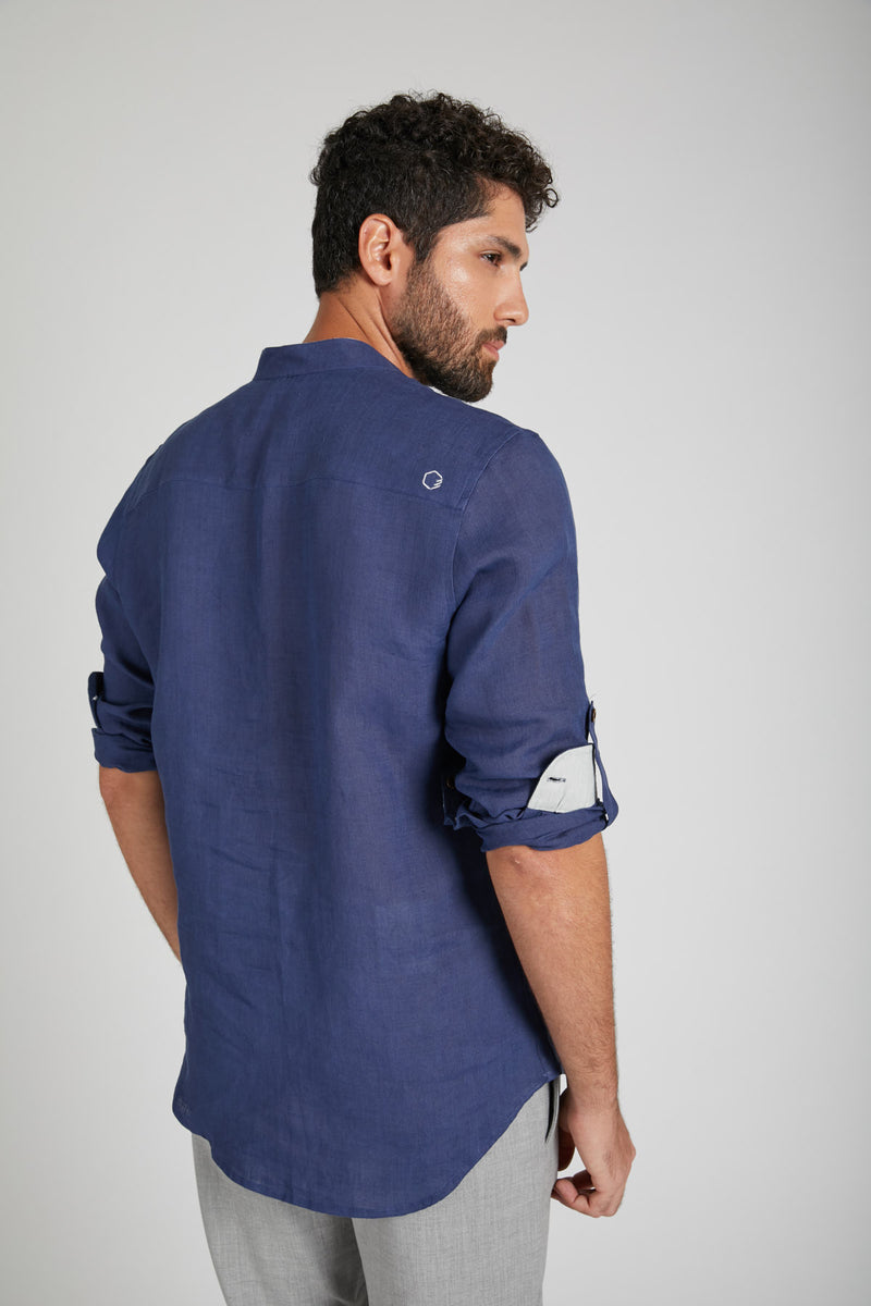 Earthen Mandarin Casual Shirt - Navy