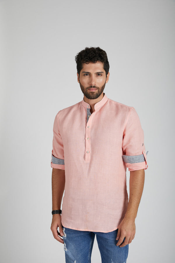 Earthen Mandarin Casual Shirt - Peach