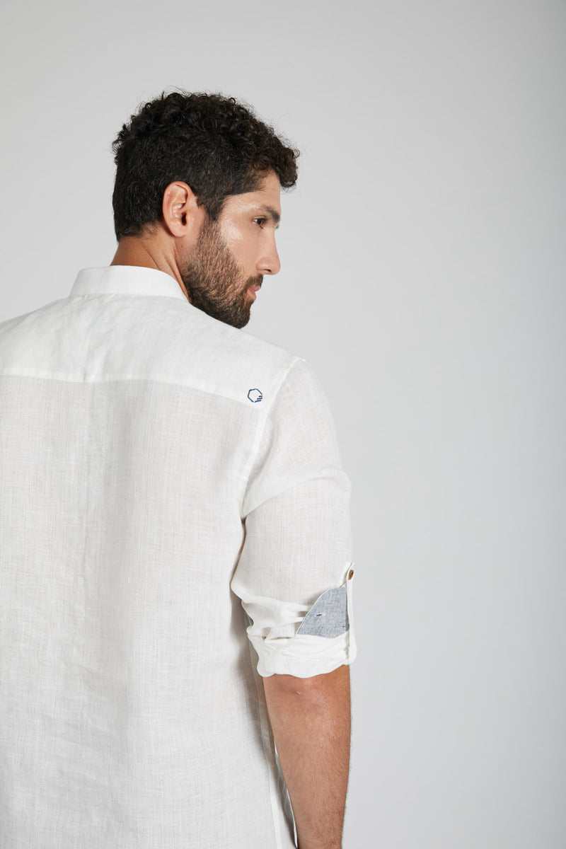 Earthen Mandarin Casual Shirt - White
