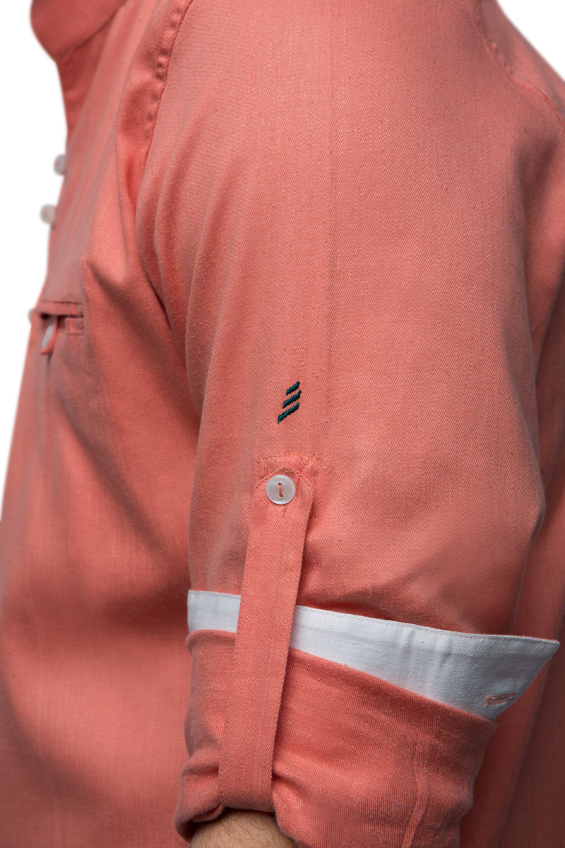 Embers Looped Button Shirt  - Peach