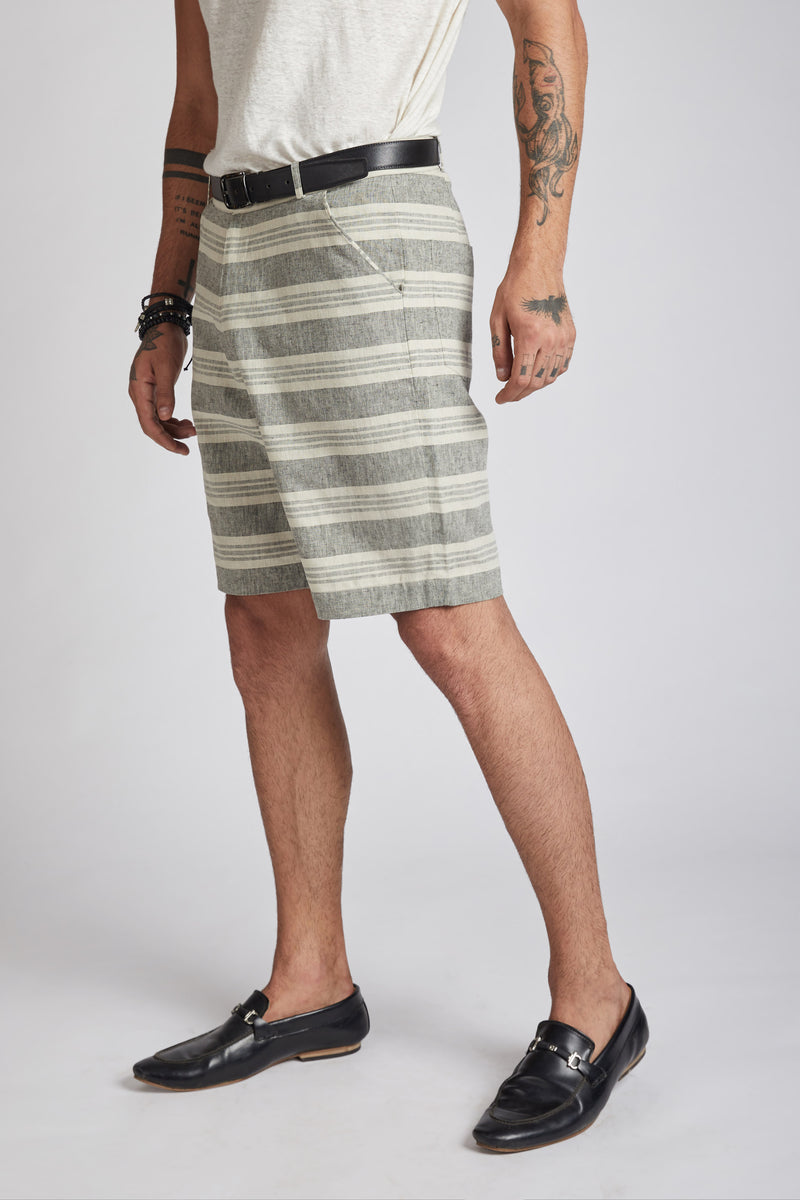 Evanescent Patch Pocket Shorts - Horizontal Stripes
