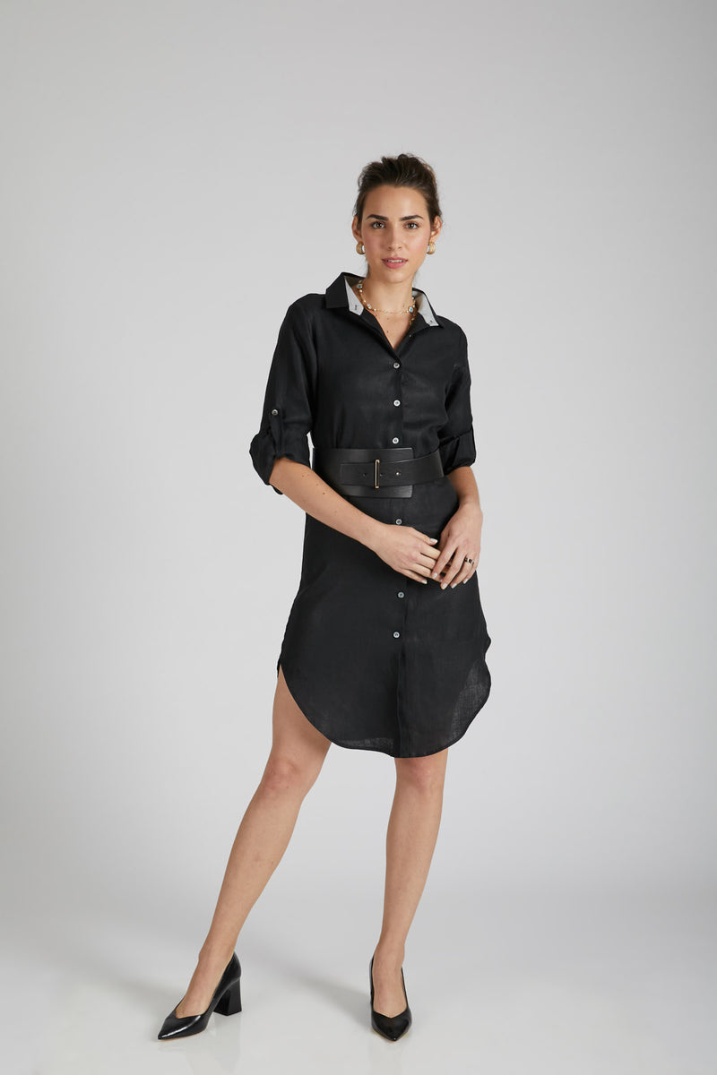 Fern Shirt Dress - Black
