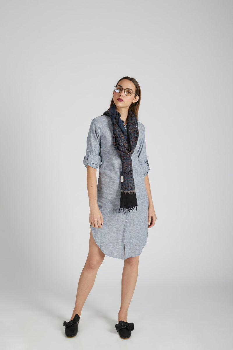 Fern Shirt Dress - Blue Melange