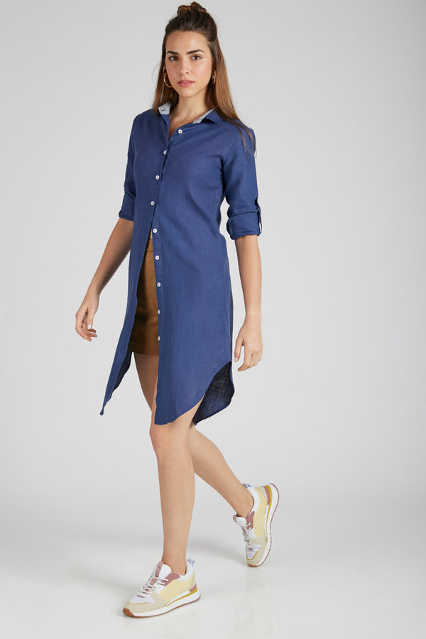 Fern Shirt Dress - Navy