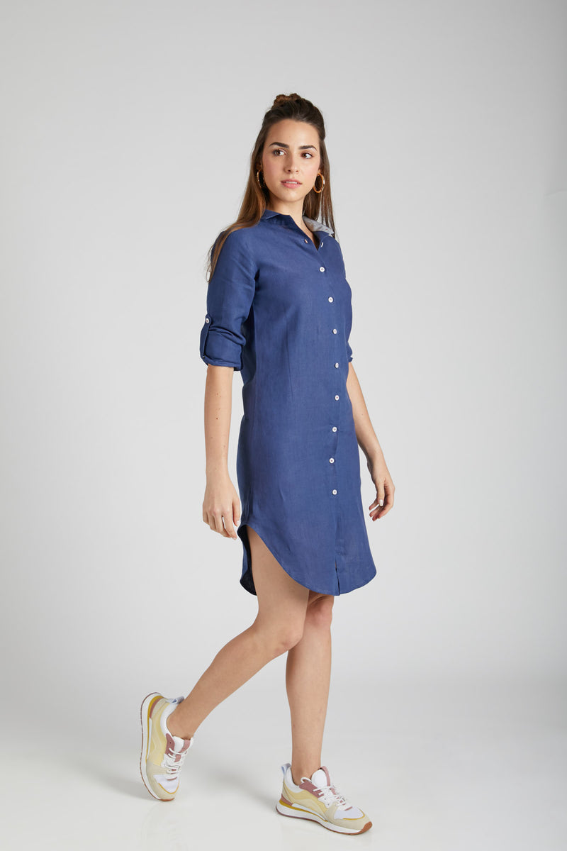 Fern Shirt Dress - Navy (Only Size M Left)