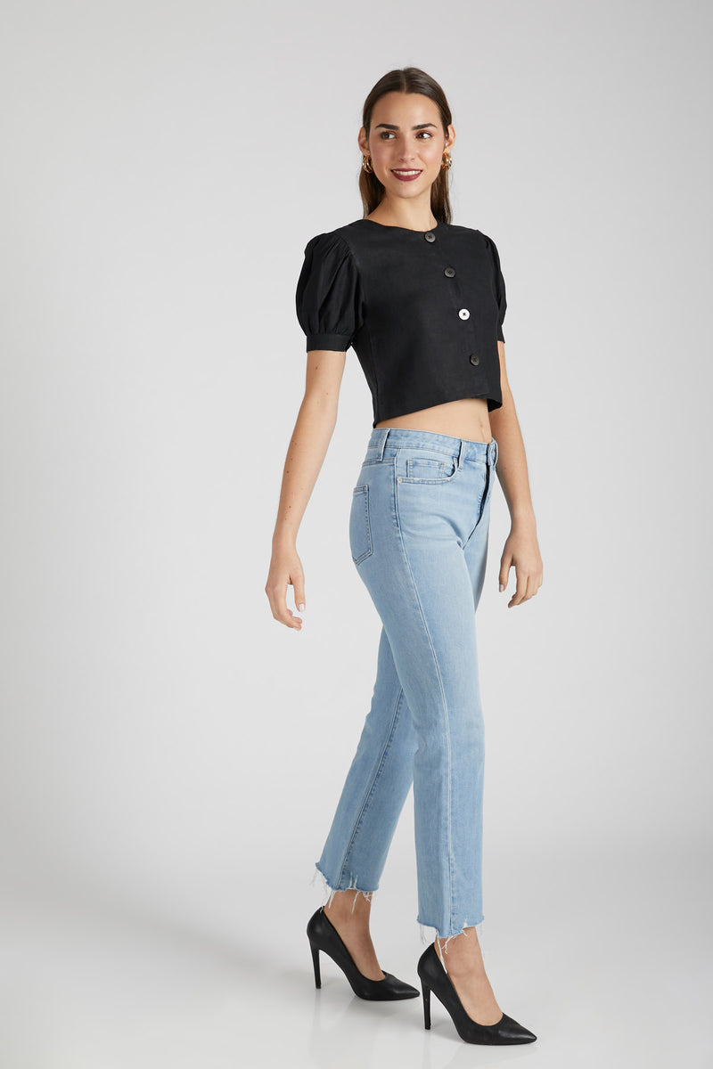 Flame Puff Sleeve Top  - Black