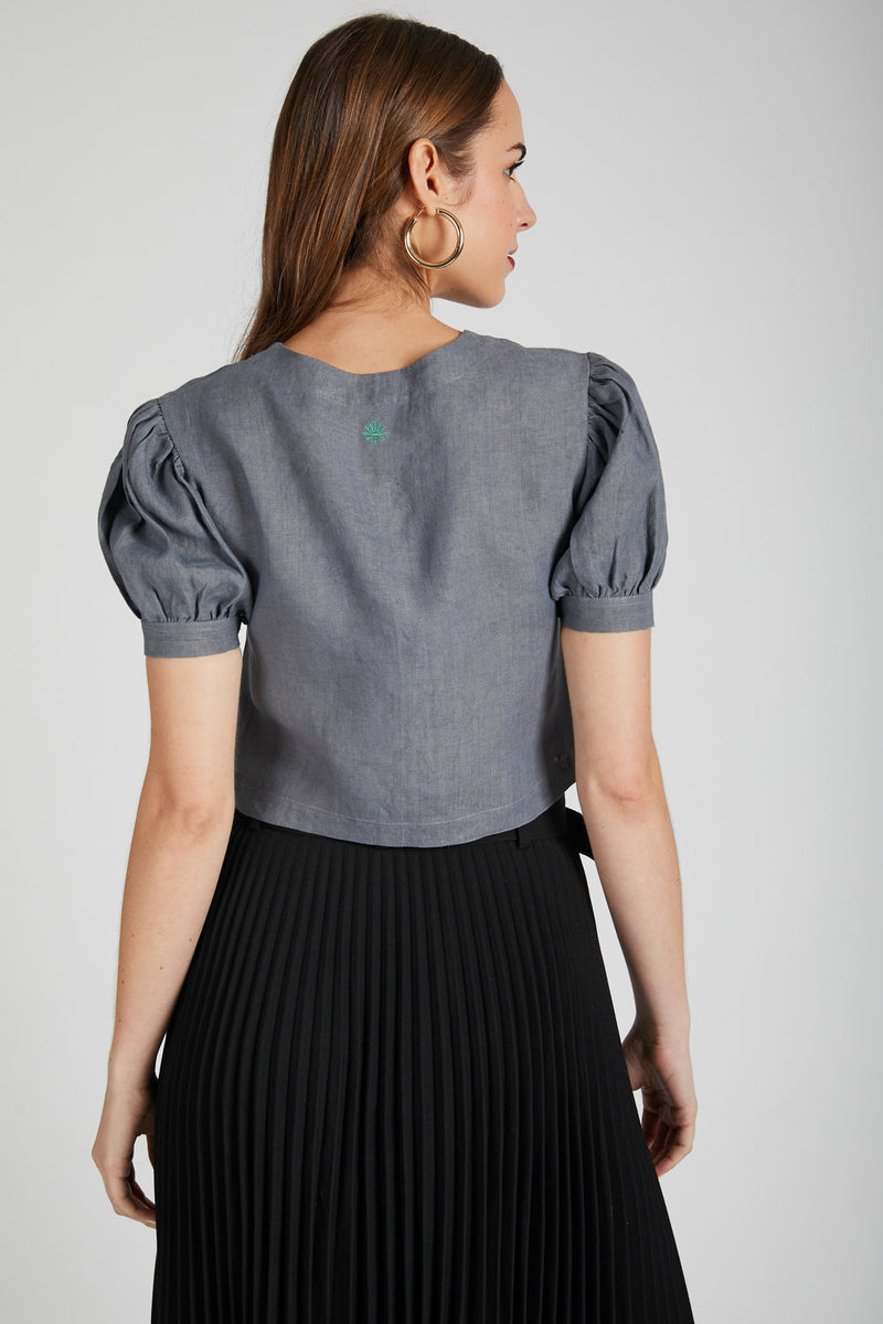 Flame Puff Sleeve Top  - Grey