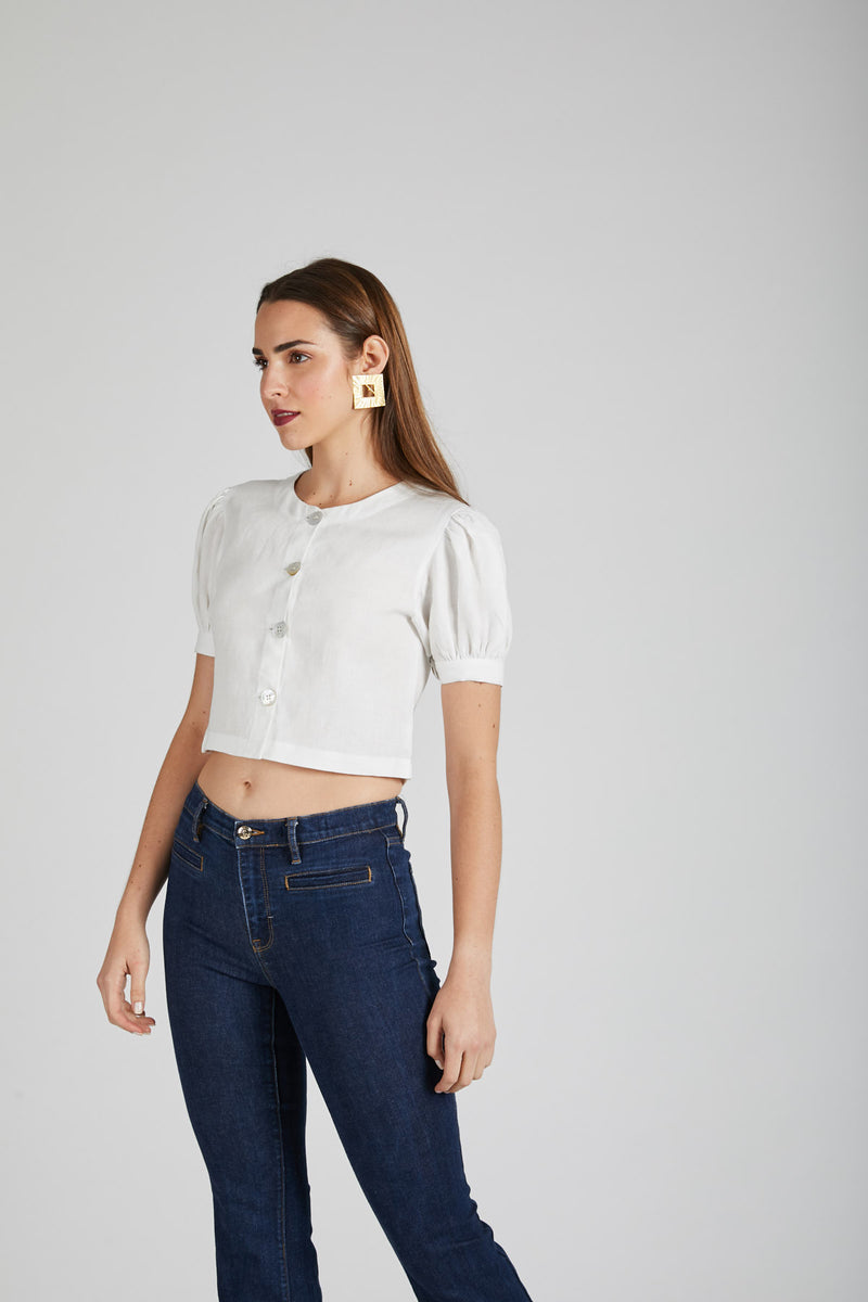 Flame Puff Sleeve Top  - White