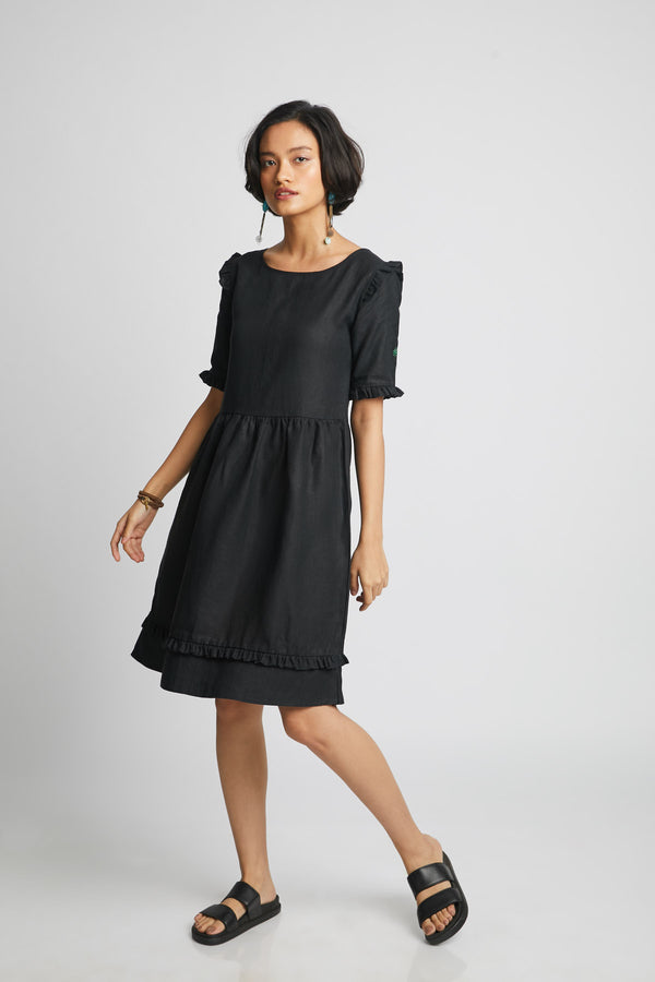 Flare Ruffle Dress - Black (Only Size L Left)