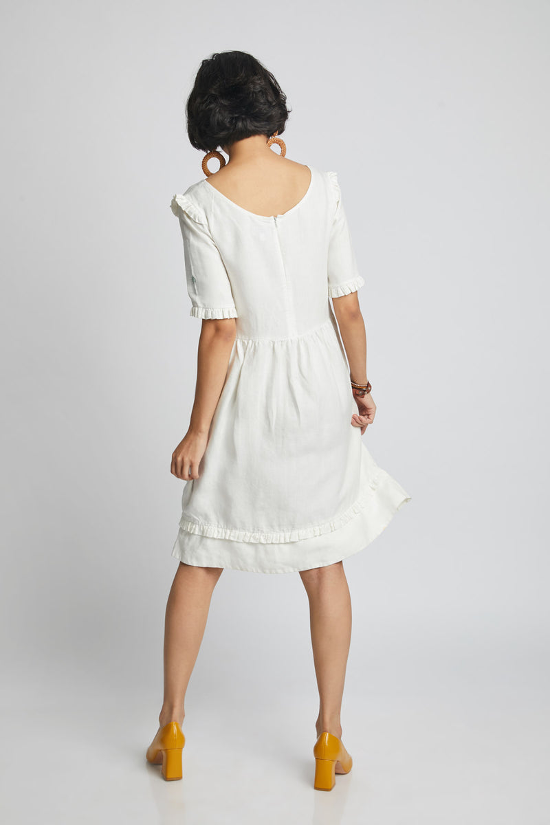 Flare Ruffle Dress - White