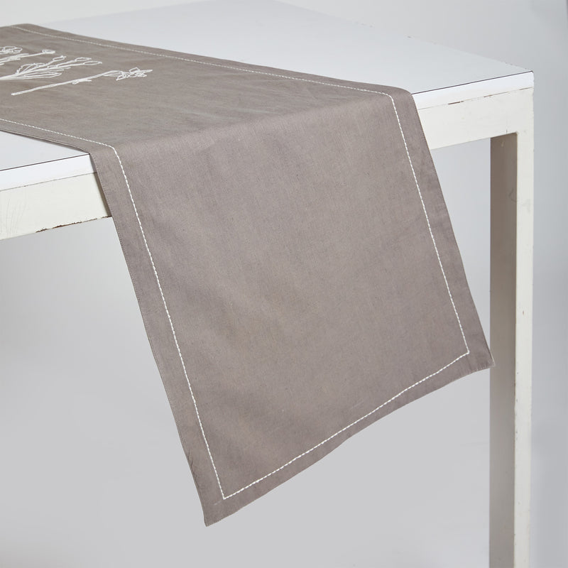 Floral Table Runner - Grey