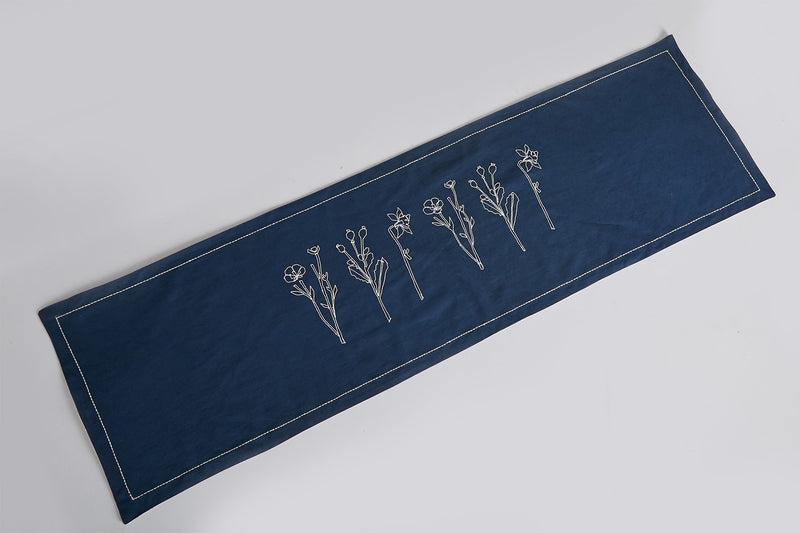 Floral Table Runner - Navy