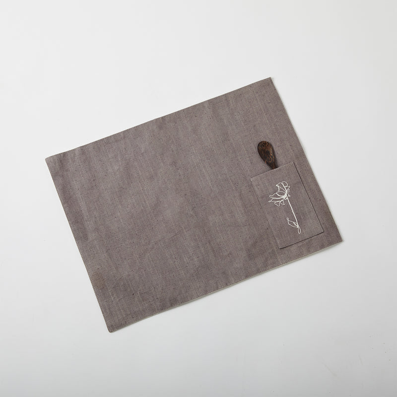Floral Table Mat - Grey