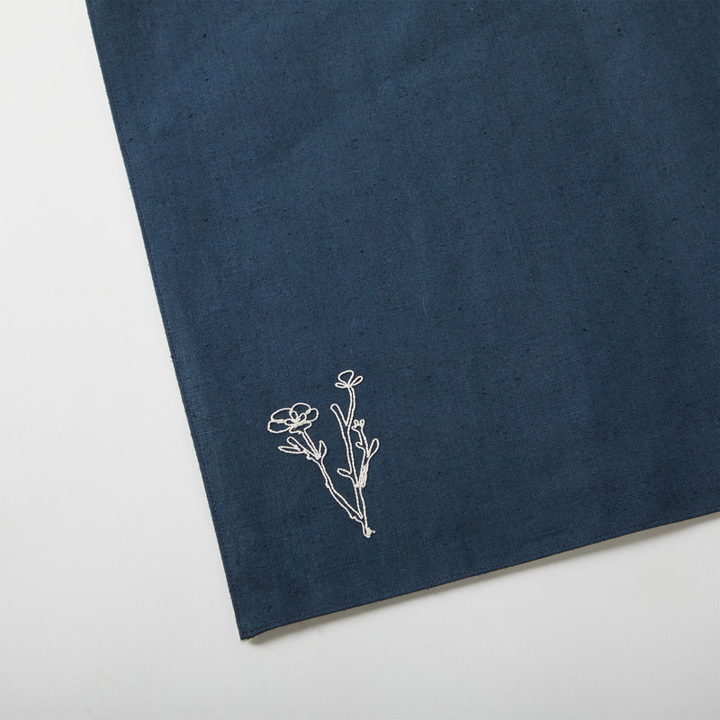 Floral Table Mat - Navy