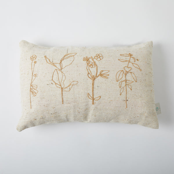 Floral Twined Cushion - Off White