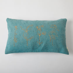 Floral Twined Cushion - Teal