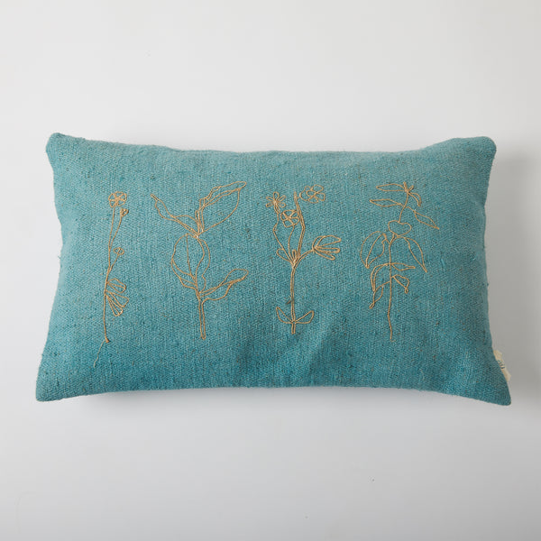 Floral Twined Cushion Cover - Teal
