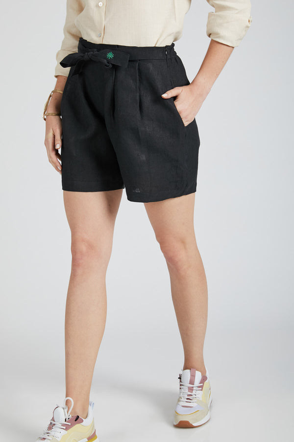 Gleam Tie Up Shorts - Black