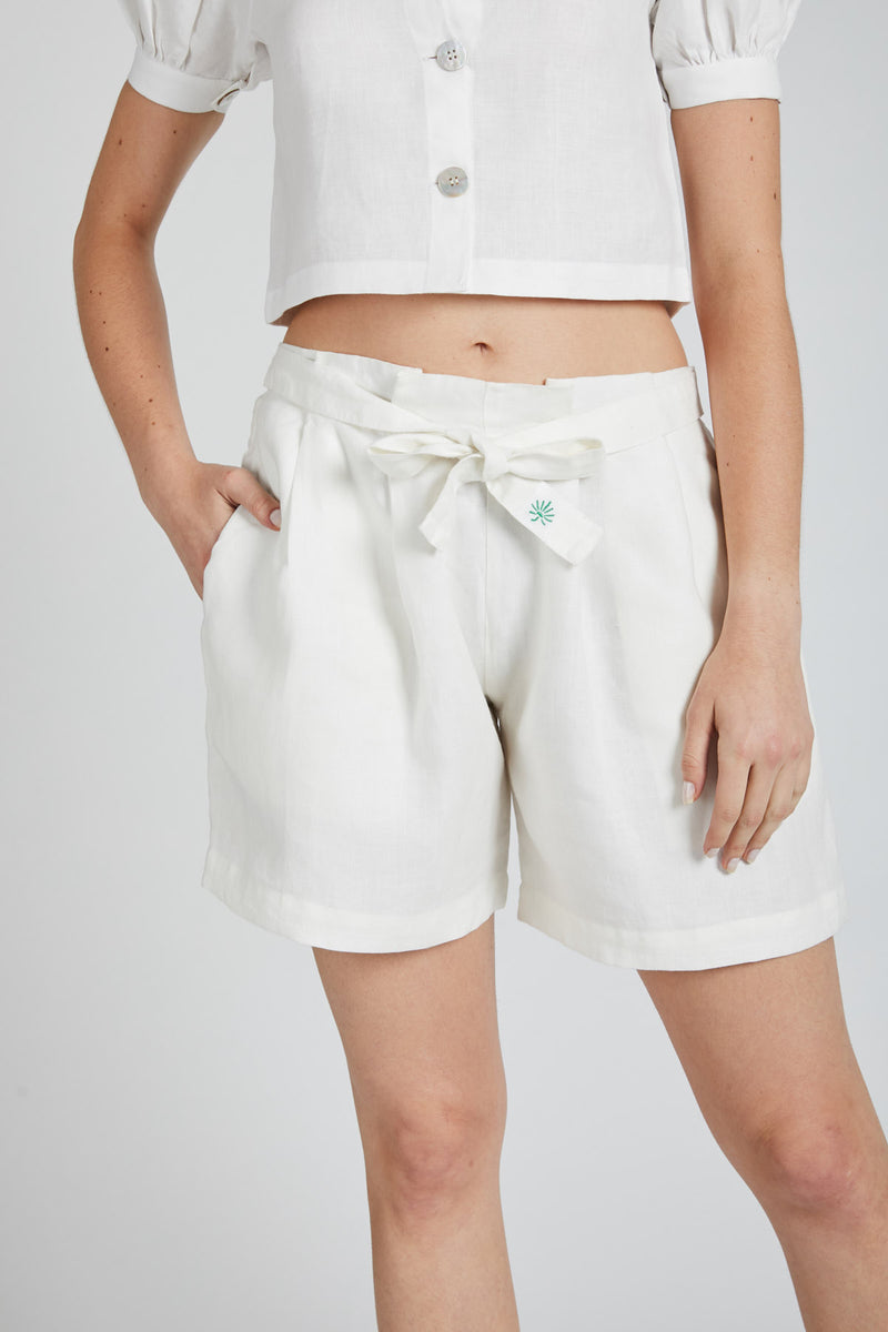 Gleam Tie Up Shorts - White