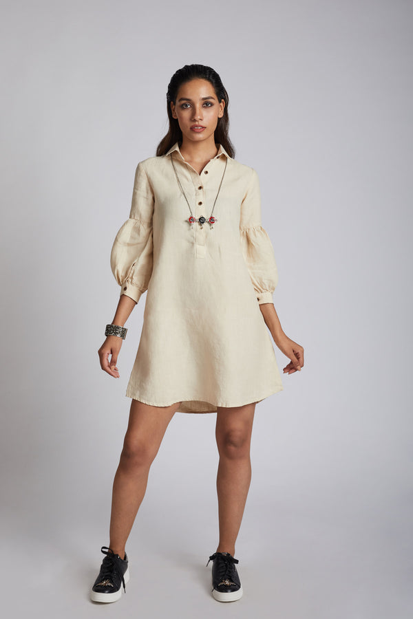 Horizon Lego-mutton Shirt Dress - Beige