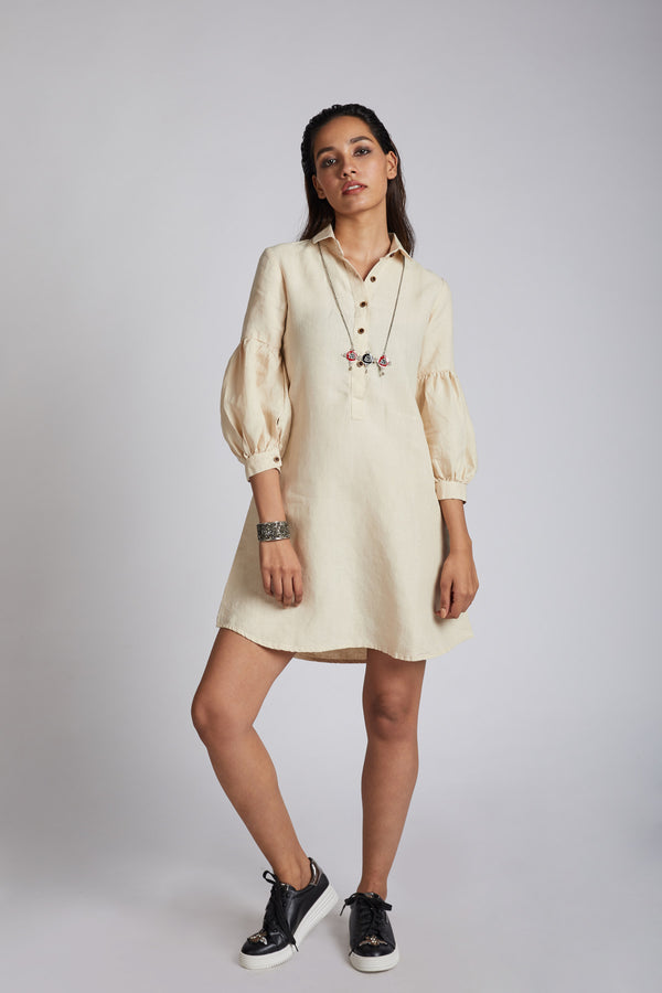 Horizon Lego-mutton Shirt Dress For Womens - Beige