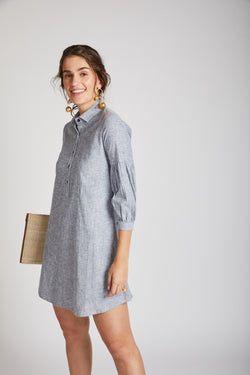 Horizon Lego-mutton Shirt Dress - Blue Melange