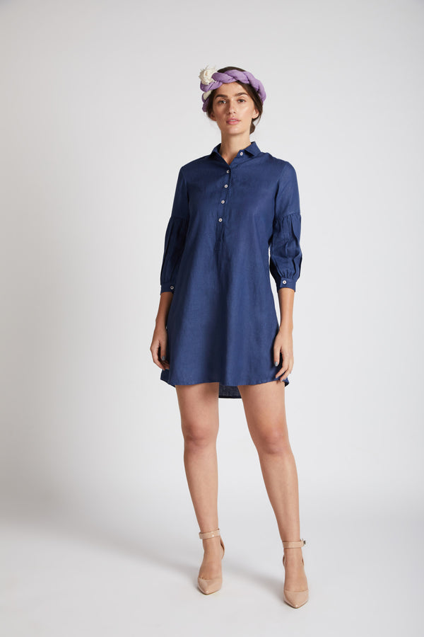 Horizon Lego-mutton Shirt Dress - Navy
