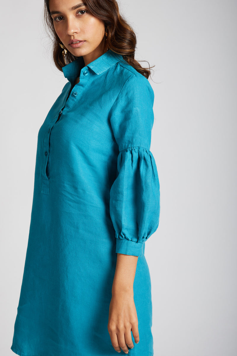 Horizon Lego-mutton Shirt Dress - Teal