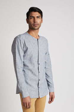 Kaleidoscope Round Neck Shirt - Blue Melange
