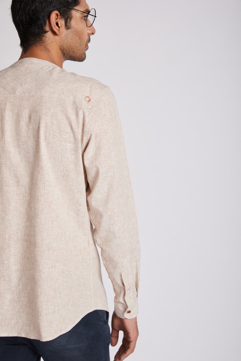 Kaleidoscope Round Neck Shirt - Rust Stripes