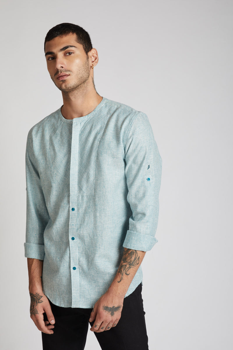 Kaleidoscope Round Neck Shirt - Teal Stripes