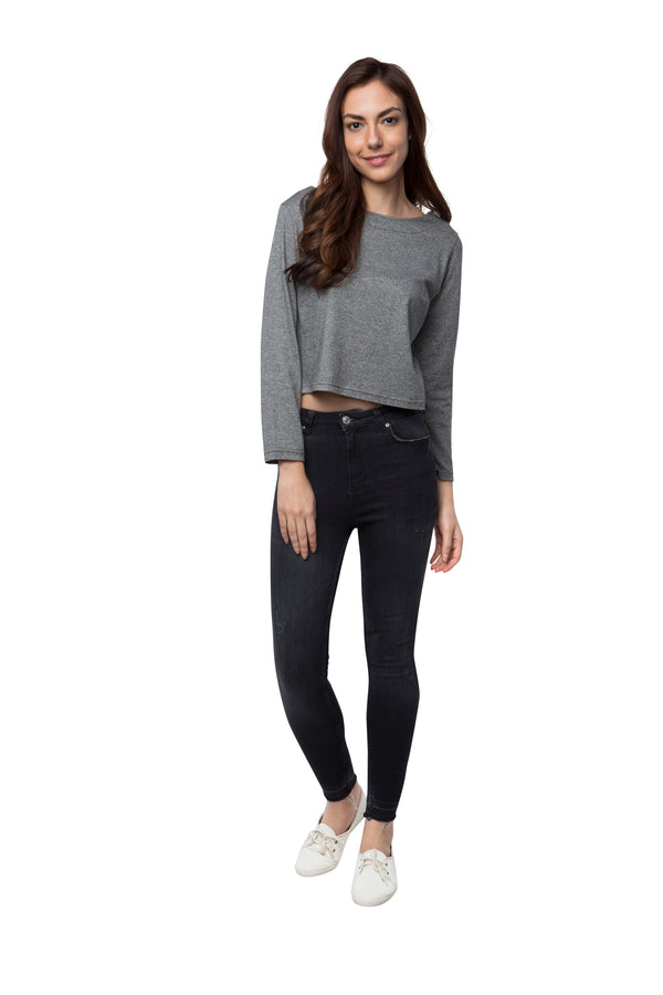 Maple Crop Top  - Grey Black
