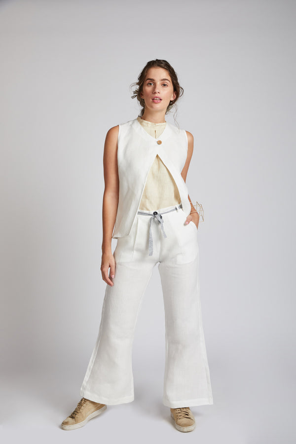 white Hemp Pants - Mast Culotte Pants