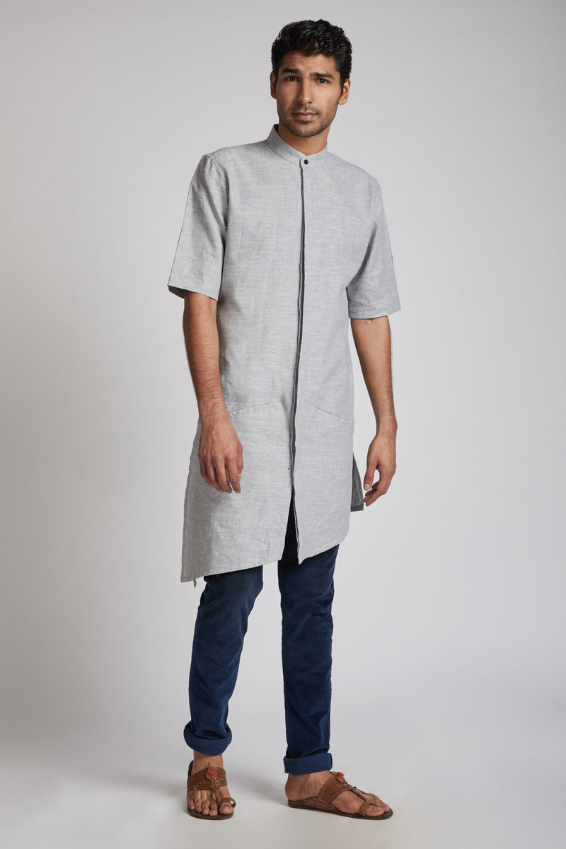 Metamorphosis Kurta - Grey Melange