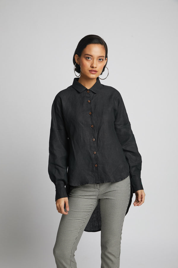 Morning Star Balloon Sleeve Shirt  - Black