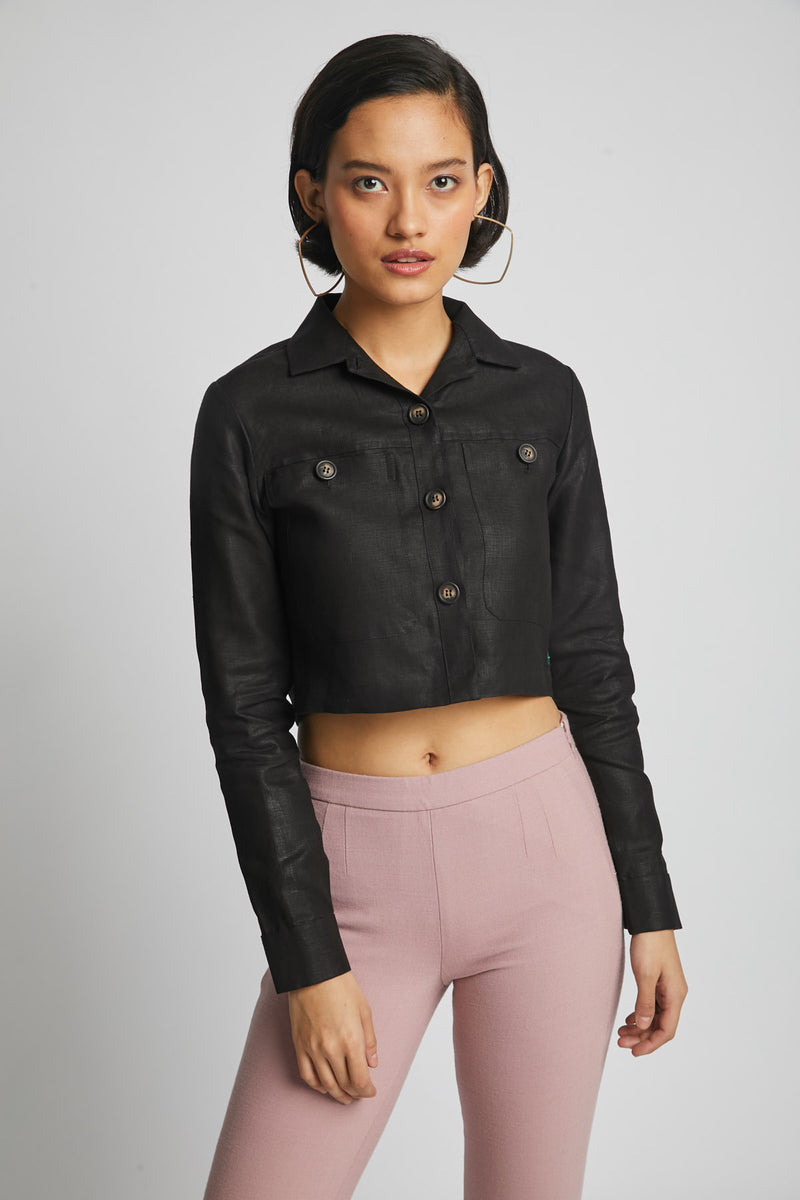 Nova Crop  Shirt  - Black