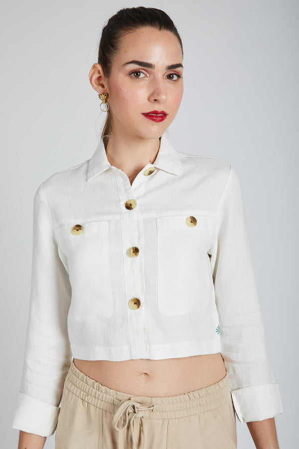 Nova Crop  Shirt  - White