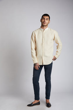 Orbit Contrast Collar Shirt - Beige
