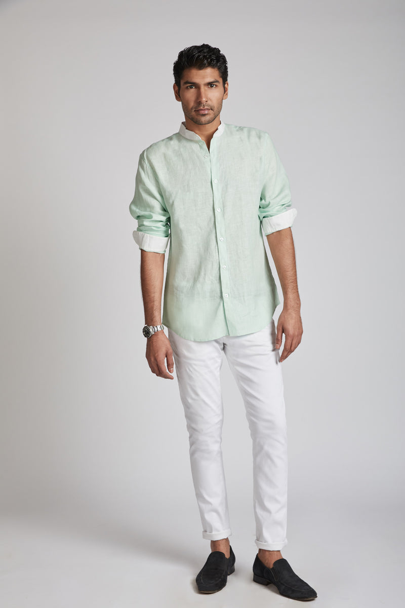 Orbit Contrast Collar Shirt - Mint Green