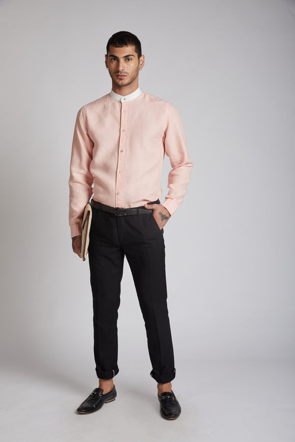 Orbit Contrast Collar Shirt - Peach