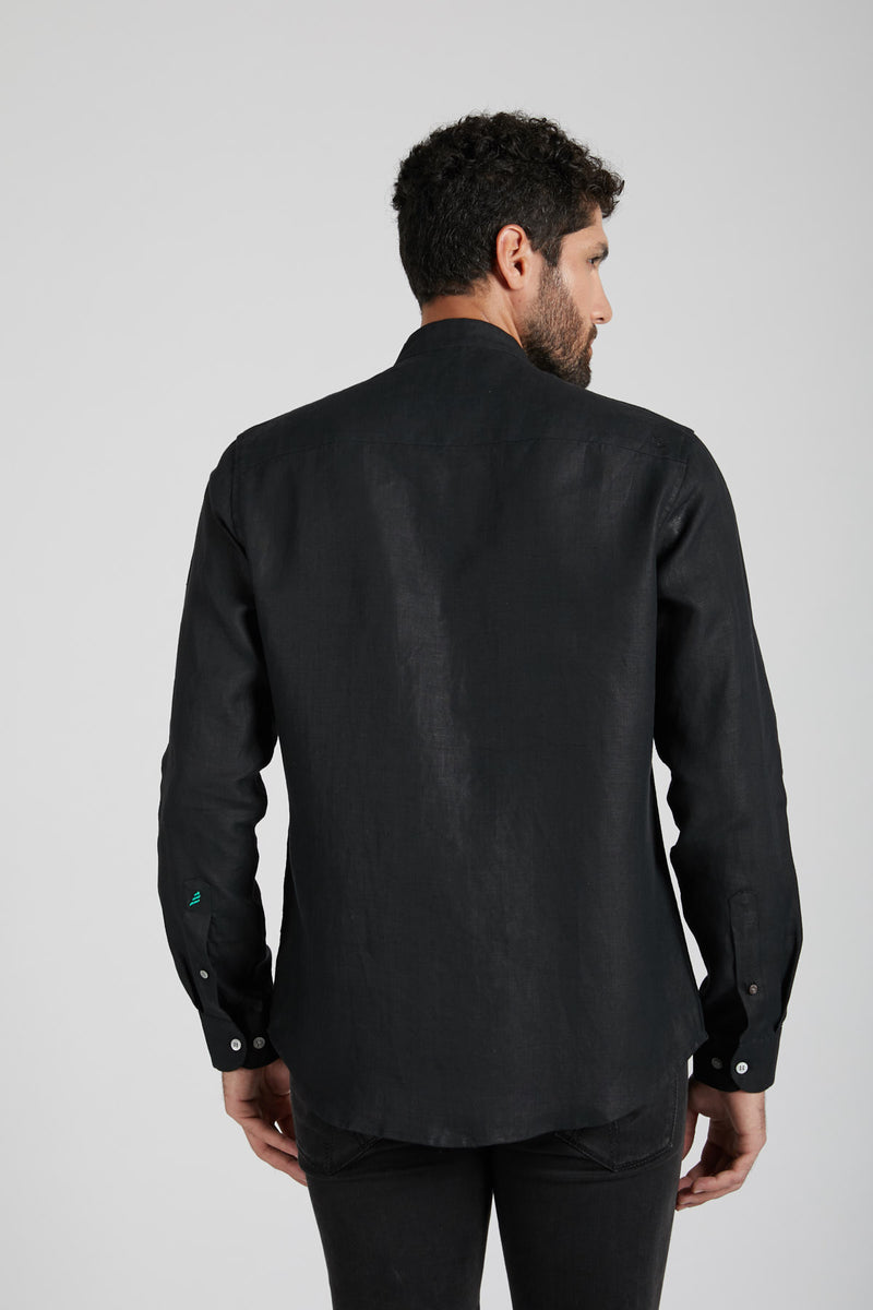 Origin Mandarin Collar Shirt - Black