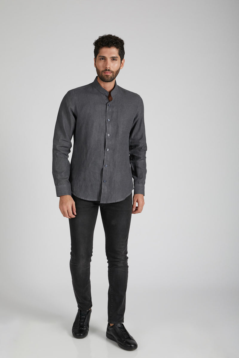 Origin Mandarin Collar Shirt - Grey
