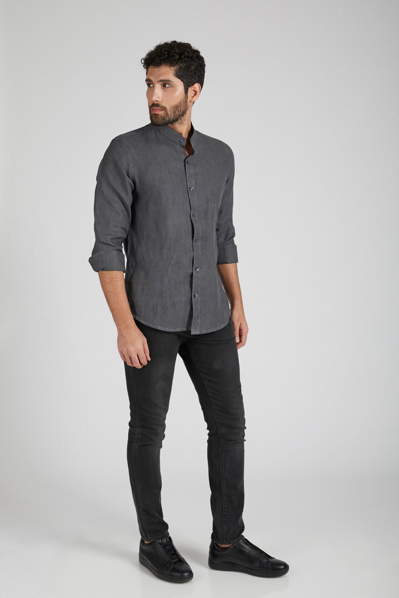 Origin Mandarin Collar Shirt - Grey (Only Size 40 Left)