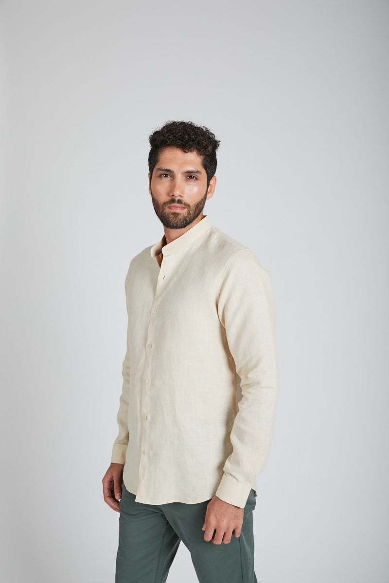 Origin Mandarin Collar Shirt - Light Beige (only 40 left)