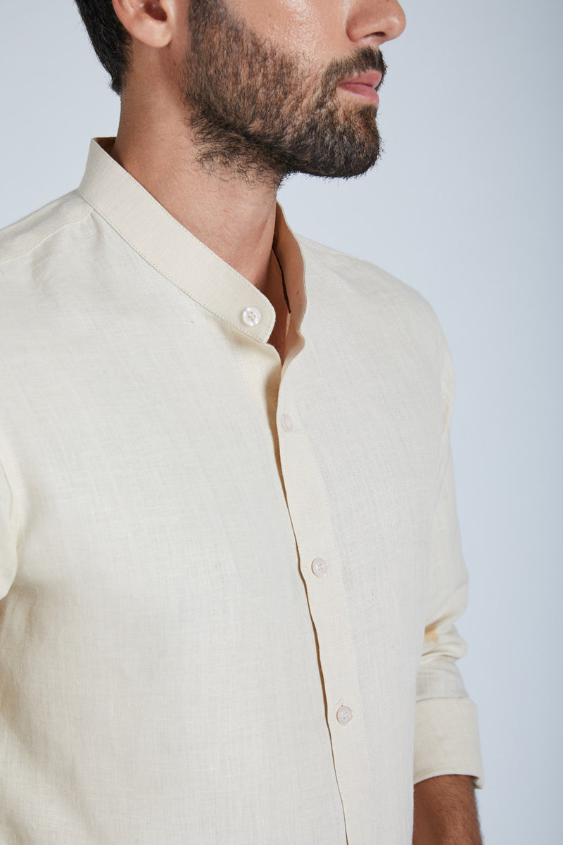Origin Mandarin Collar Shirt - Light Beige