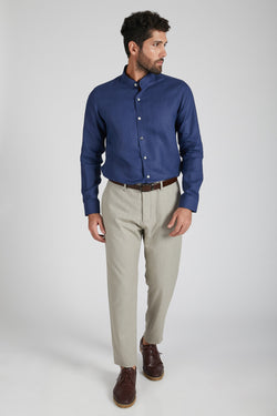 Origin Mandarin Collar Shirt - Navy