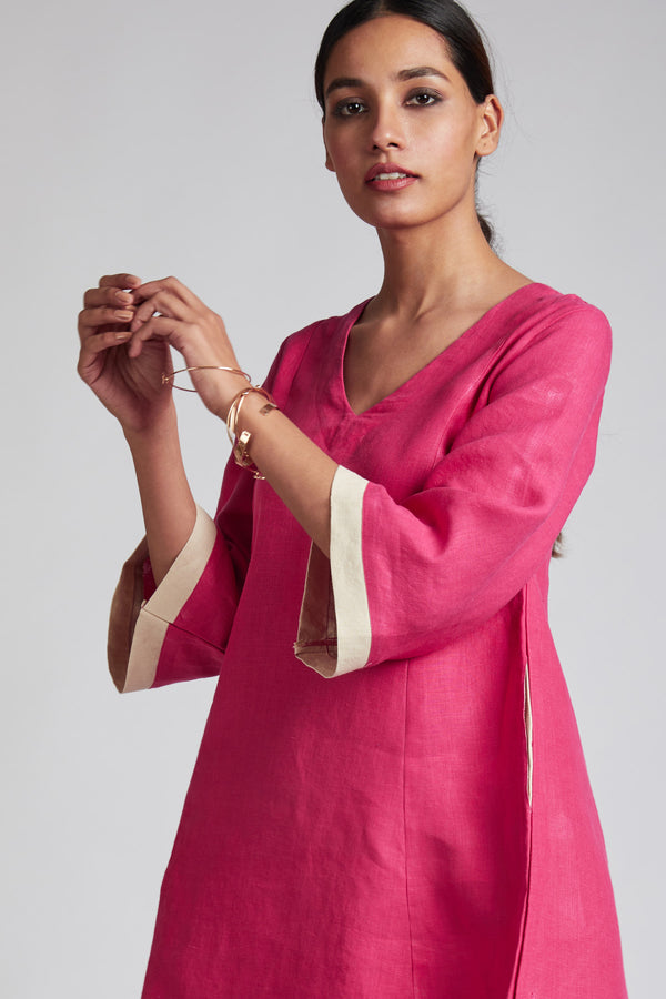 Papercrane Panelled Flared Dress - Hot Pink