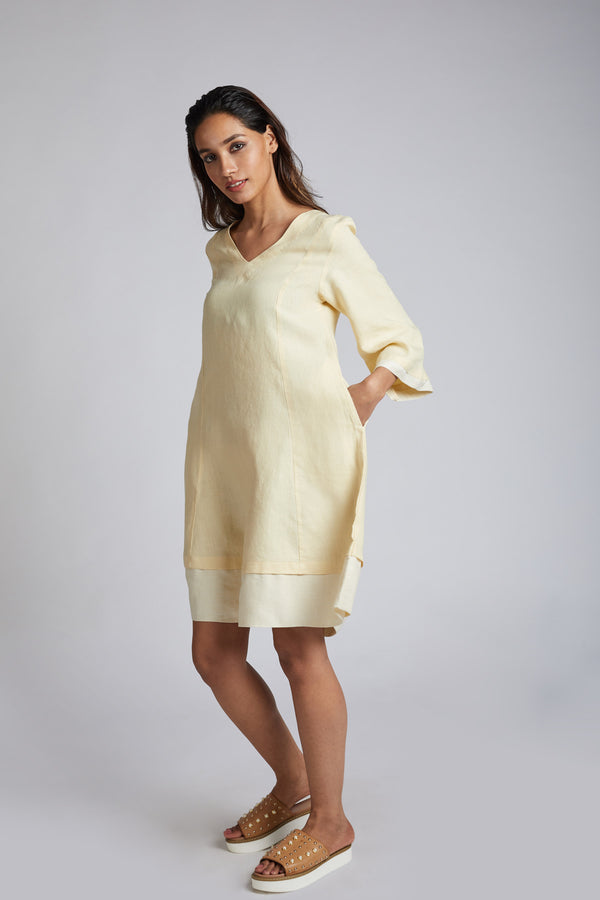 Papercrane Panelled Flared Dress - Yellow